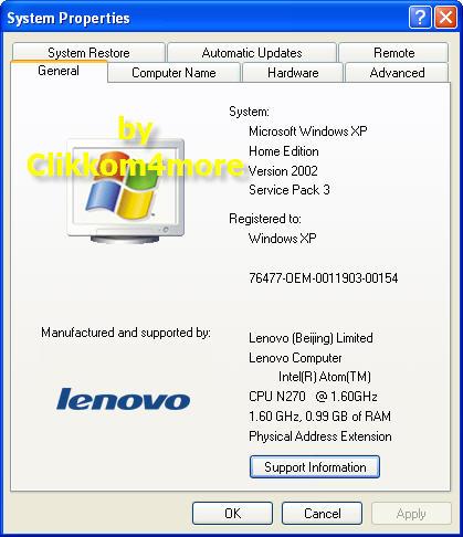 system properties - lenovo